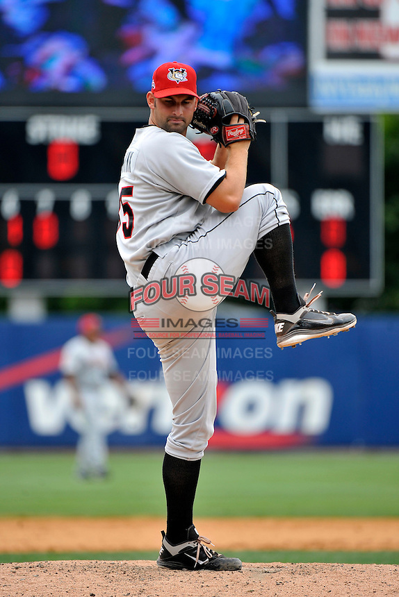 Tri-City  Valley Cats pitcher Travis Smink #35 during a game against the Staten Island Yankees at Richmond County Bank Ballpark at St. George on July 25, 2011 in Staten Island, NY.  Staten Island defeated Tri-City 2-1.  Tomasso DeRosa/Four Seam Images