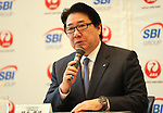 """October 3, 2017, Tokyo, Japan - Japan Airlines (JAL) president Yoshiharu Ueki announces JAL and SBI Holdings form a joint venture """"JAL SBI Fintech"""" at JAL headquarters in Tokyo on Tuesday, October 3, 2017.  JAL SBI Fintech will launch the business of multi-currency prrpaid card next year.   (Photo by Yoshio Tsunoda/AFLO) LWX -ytd-"""