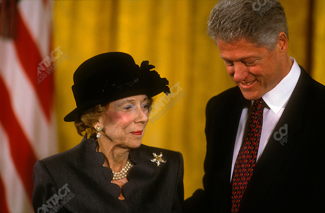 Brooke Astor receives the Presidential Medal of Freedom award from President Bill Clinton in the East Room of the White House in January 1998.