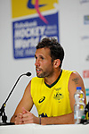 The Hague, Netherlands, June 13: Mark Knowles #9 of Australia during press conference after the field hockey semi-final match (Men) between Australia and Argentina on June 13, 2014 during the World Cup 2014 at Kyocera Stadium in The Hague, Netherlands. Final score 1-0 (1-0)  (Photo by Dirk Markgraf / www.265-images.com) *** Local caption ***
