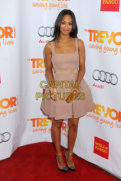 "Zoe Saldana.The Trevor Project's ""Trevor Live"" 2012 held at the Hollywood Palladium, Hollywood, California, USA..December 2nd, 2012.full length pink sleeveless dress wood wooden clutch bag black shoes .CAP/ADM/BP.©Byron Purvis/AdMedia/Capital Pictures."