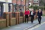 © Joel Goodman - 07973 332324 .  04/02/2014 . Sale , UK . L-R Rachel Reeves , Mike Kane and Chris Bryant arrive . Rachel Reeves , MP for Leeds West and Shadow Secretary of State for Work and Pensions and Chris Bryant , MP for Rhondda and Shadow Minister for Welfare Reform , join Labour candidate Mike Kane on the campaign trail ahead of the Wythenshawe and Sale East by-election , following the death of MP Paul Goggins . They visit the home of Tony Gunning (51) who suffers from hereditary adult polycystic kidney disease and is on dialysis , who says he is affected by the bedroom tax . Photo credit : Joel Goodman