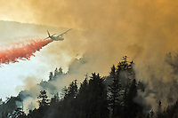 A California Air National Guard C-130 aircraft equipped with a specialized system that carries 3,000 gallons (11,356 liters) of fire retardant drops its payload on a flaming mountainside near Covelo, California, USA, on 24 August 2012. The rough terrain in the Mendocino National Forest requires using bulldozers and tactical aircraft to create wide fire breaks at strategic points.