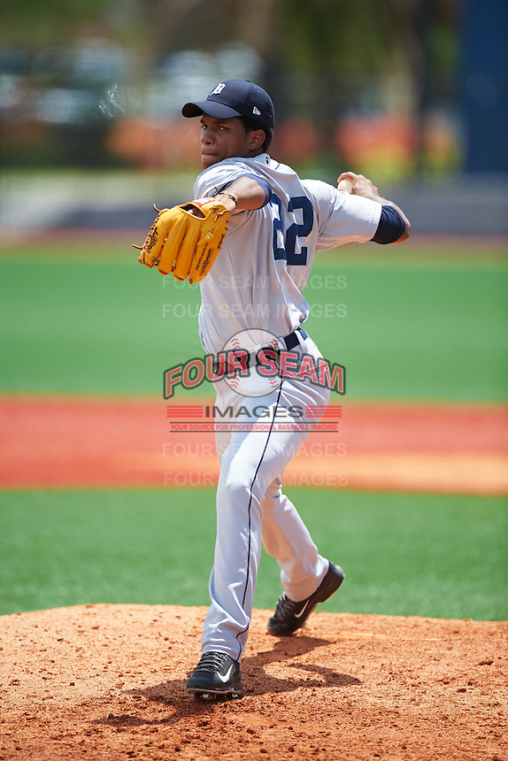 GCL Tigers West relief pitcher Victor Mueses (22) during a game against the GCL Tigers East on August 4, 2016 at Tigertown in Lakeland, Florida.  GCL Tigers West defeated GCL Tigers East 7-3.  (Mike Janes/Four Seam Images)