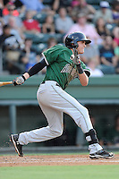 Third baseman Ryder Jones (15) of the Augusta GreenJackets bats in a game against the Greenville Drive on Thursday, July 10, 2014, at Fluor Field at the West End in Greenville, South Carolina. Jones was a second-round pick of the San Francisco Giants in the 2013 First-Year Player Draft. He is listed as the Giants' No. 15 prospect by Baseball America. Augusta won, 8-2. (Tom Priddy/Four Seam Images)