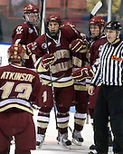 Cam Atkinson (BC - 13), Philip Samuelsson (BC - 5), Edwin Shea (BC - 8), Pat Mullane (BC - 11) - The Northeastern University Huskies defeated the Boston College Eagles 3-2 on Friday, February 19, 2010, at Matthews Arena in Boston, Massachusetts.