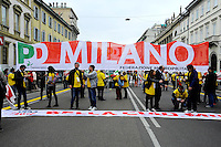 Milano, 25 Aprile 2015, Manifestazione per il 70&deg; anniversario della Liberazione dal nazifascismo. Striscione Partito Democratico.<br /> Milan, April 25, 2015, Demonstration for the 70th anniversary of liberation from fascism. Banner of the Democratic Party.