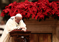 Pope Francis prays as he celebrates the Christmas Eve Mass in St. Peter's Basilica at the Vatican, on December 24, 2018.<br /> UPDATE IMAGES PRESS/Isabella Bonotto<br /> <br /> STRICTLY ONLY FOR EDITORIAL USE