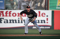 Cody Regis (18) of the Visalia Rawhide at second base during a game against the Lancaster JetHawks at The Hanger on May 7, 2016 in Lancaster, California. Lancaster defeated Visalia, 19-5. (Larry Goren/Four Seam Images)