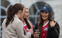 ELLIE YOUNG (IBIZA WEEKENDER) & AMELIA BATH (IBIZA WEEKENDER) during a interview during the SOCCER SIX Celebrity Football Event at the Queen Elizabeth Olympic Park, London, England on 26 March 2016. Photo by Andy Rowland.