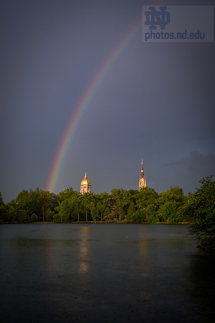 July 2, 2017; Rainbow over St. Mary's Lake. (Photo by Matt Cashore/University of Notre Dame)