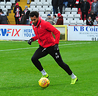 Lincoln City's Matt Green during the pre-match warm-up<br /> <br /> Photographer Andrew Vaughan/CameraSport<br /> <br /> The EFL Sky Bet League Two - Stevenage v Lincoln City - Saturday 8th December 2018 - The Lamex Stadium - Stevenage<br /> <br /> World Copyright © 2018 CameraSport. All rights reserved. 43 Linden Ave. Countesthorpe. Leicester. England. LE8 5PG - Tel: +44 (0) 116 277 4147 - admin@camerasport.com - www.camerasport.com