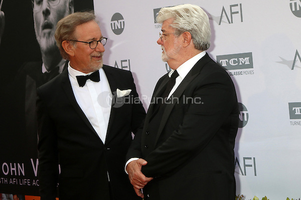 LOS ANGELES, CA - JUNE 9: Steven Spielberg, Geroge Lucas at the American Film Institute 44th Life Achievement Award Gala Tribute to John Williams at the Dolby Theater on June 9, 2016 in Los Angeles, California. Credit: David Edwards/MediaPunch