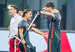 BHUBANESWAR (INDIA) -  Lars Balk (Ned) heeft de stand op 1-0 gebracht tijdens Nederland-Canada bij het WK Hockey heren. links Jeroen Hertzberger (Ned) COPYRIGHT KOEN SUYK