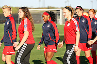 Piscataway, NJ, April 24, 2016.  Players from  the Washington Spirit enter the field.  The Washington Spirit defeated Sky Blue FC 2-1 during a National Women's Soccer League (NWSL) match at Yurcak Field.
