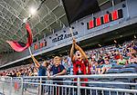 Stockholm 2014-07-31 Fotboll Europa League IF Brommapojkarna - Torino FC :  <br /> Unga supportrar till Brommapojkarna i Tele2 Arena med flaggor<br /> (Foto: Kenta J&ouml;nsson) Nyckelord:  BP Brommapojkarna IFB Tele2 Arena Europa League Torino FC TFC Italien Itay supporter fans publik supporters