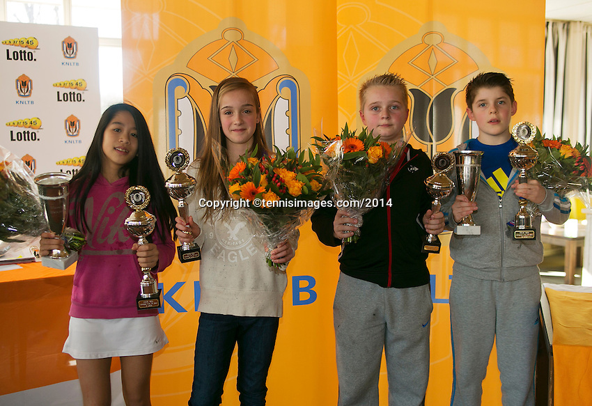 Rotterdam, The Netherlands, 07.03.2014. NOJK ,National Indoor Juniors Championships of 2014, 12and 16 years, Winner girls 12 years Lian Tran (NED)(R) and runner up girls 12 years Julie Belgraver (NED) runner up boys 12 years Daan Hendriks and winner Jens Hoogendam, l.t.r.<br /> Photo:Tennisimages/Henk Koster