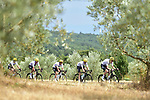 The peloton led by Team Sky in action during Stage 19 of the 104th edition of the Tour de France 2017, running 222.5km from Embrun to Salon-de-Provence, France. 21st July 2017.<br /> Picture: ASO/Pauline Ballet | Cyclefile<br /> <br /> <br /> All photos usage must carry mandatory copyright credit (&copy; Cyclefile | ASO/Pauline Ballet)