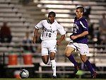 Duke's Zach Pope (16) races past Western Illinois's Jared Appel (12) on Tuesday, October 11th, 2005 at Duke University's Koskinen Stadium in Durham, North Carolina. The Duke University Blue Devils defeated the Western Illinois Leathernecks 2-0 during an NCAA Division I Men's Soccer game.