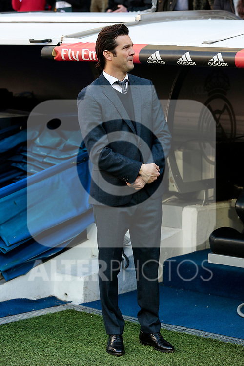 Real Madrid's coach Santiago Solari during La Liga match between Real Madrid and Girona FC at Santiago Bernabeu Stadium in Madrid, Spain. February 17, 2019. (ALTERPHOTOS/A. Perez Meca)