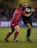 Bath Rugby's Tom Dunn is tackled by Scarlets&rsquo; Samson Lee<br /> <br /> Photographer Bob Bradford/CameraSport<br /> <br /> European Champions Cup Round 5 - Bath Rugby v Scarlets - Friday 12th January 2018 - The Recreation Ground - Bath<br /> <br /> World Copyright &copy; 2018 CameraSport. All rights reserved. 43 Linden Ave. Countesthorpe. Leicester. England. LE8 5PG - Tel: +44 (0) 116 277 4147 - admin@camerasport.com - www.camerasport.com