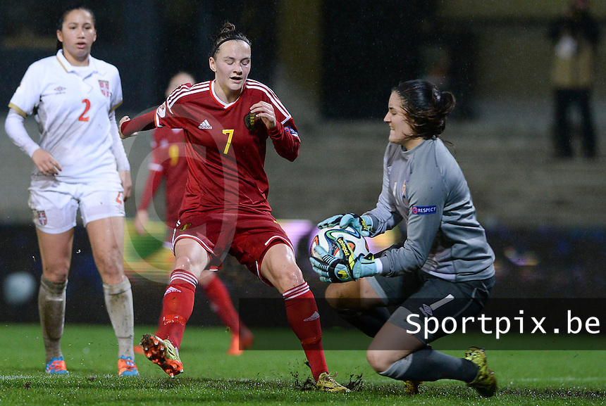 20151130 - LEUVEN ,  BELGIUM : Belgian Elke Van Gorp pictured in a duel with Serbian Goalkeeper Susanne Nilsson (r)  during the female soccer game between the Belgian Red Flames and Serbia , the third game in the qualification for the European Championship in The Netherlands 2017  , Monday 30 November 2015 at Stadion Den Dreef  in Leuven , Belgium. PHOTO DAVID CATRY