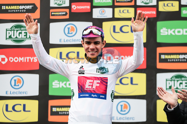 Sergio Andre Higuita (COL) EF Pro Cycling retains the young riders White Jersey on the podium at the end of Stage 4 of the 78th edition of Paris-Nice 2020, and individual time trial running 15.1km around Saint-Amand-Montrond, France. 11th March 2020.<br /> Picture: ASO/Fabien Boukla   Cyclefile<br /> All photos usage must carry mandatory copyright credit (© Cyclefile   ASO/Fabien Boukla)