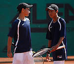 Tenis, World Championship U-14.USA Vs. Korea, boys.Rubin Noah and Belga Jordan Vs. Geon Ju Shin and Hyeon Chung.Rubin Noah, returnes.Prostejov, 02.08.2010..foto: Srdjan Stevanovic/Starsportphoto ©