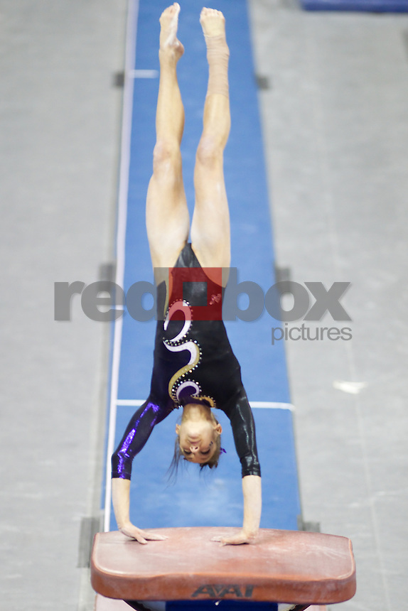 The University of Washington gymnastics team defeated Arizona State University at Alaska Airlines Arena on the campus of the UW in Seattle on March 2, 2012.(Photo by Scott Eklund/Red Box Pictures) McKenzie Fechter.
