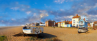 Sea front houses and fushing baist on the shingle beach of Aldeburgh , Suffolk, England