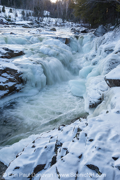 Cascade at Rocky Gorge Scenic Area, along the Swift River, in Albany, New Hampshire during the winter months. Designated a scenic area in 1961, the Rocky Gorge Scenic Area is a 70-acre tract of land along the Kancamagus Highway.