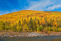 Autumn colors and the Rivière Sainte-Anne in the Chic-Choc Mountains, a mountain range that is  part of the Notre Dame Mountains, which is a continuation of the Appalachian Mountains. This is a provincial parc, not a true federal park.<br />