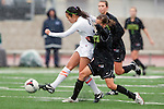 Palos Verdes, CA 01/26/10 -Megan Young (3) and Kelsey Pio (MC #16) in action during the Mira Costa vs Palos Verdes Girls Varsity soccer game at Palos Verdes High School.