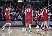 STANFORD, CA - March 2, 2019: Jaylen Jasper, Eli Wopat, Kyle Dagostino, Jordan Ewert, Kyler Presho, Paul Bischoff at Maples Pavilion. The Stanford Cardinal defeated BYU 25-20, 25-20, 22-25, 25-21.