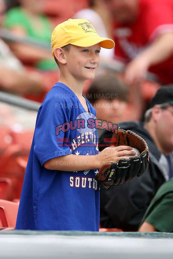 July 20th 2008:  A young fan watches pre-game activities during a game at Dunn Tire Park in Buffalo, NY.  Photo by:  Mike Janes/Four Seam Images
