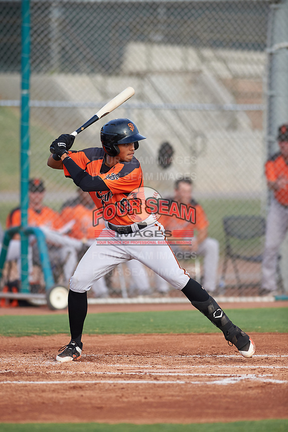 AZL Giants Orange Edison Mora (18) at bat during an Arizona League game against the AZL Giants Black on July 19, 2019 at the Giants Baseball Complex in Scottsdale, Arizona. The AZL Giants Black defeated the AZL Giants Orange 8-5. (Zachary Lucy/Four Seam Images)