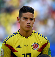 SAMARA - RUSIA, 28-06-2018: James RODRIGUEZ jugador de Colombia durante los actos protocolarios previo al partido de la primera fase, Grupo H, entre Senegal y Colombia por la Copa Mundial de la FIFA Rusia 2018 jugado en el estadio Samara Arena en Samara, Rusia. / James RODRIGUEZ player of Colombia during the formal events prior the match between Senegal and Colombia of the first phase, Group H, for the FIFA World Cup Russia 2018 played at Samara Arena stadium in Samara, Russia. Photo: VizzorImage / Julian Medina / Cont
