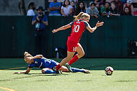 Seattle, WA - Saturday, August 26th, 2017: Allie Long and Merritt Mathias during a regular season National Women's Soccer League (NWSL) match between the Seattle Reign FC and the Portland Thorns FC at Memorial Stadium.