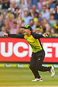 10th February 2018, Melbourne Cricket Ground, Melbourne, Australia; International Twenty20 Cricket, Australia versus England; David Warner of Australia celebrates the wicket of  Dawid Malan of England