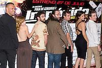 26.07.2012. Premier at Palafox Cinema in Madrid of the movie 'Impavido´, directed by Carlos Theron and starring by Marta Torne, Selu Nieto, Nacho Vidal, Carolina Bona, Julian Villagran and Manolo Solo. In the image Nacho Vidal, Carolina Bona, Manolo Solo, Carlos Theron, Selu Nieto, Marta Torne and Victor Clavijo (Alterphotos/Marta Gonzalez) /NortePhoto.com <br /> <br /> **CREDITO*OBLIGATORIO** *No*Venta*A*Terceros*<br /> *No*Sale*So*third* ***No*Se*Permite*Hacer Archivo***No*Sale*So*third*©Imagenes*con derechos*de*autor©todos*reservados*.