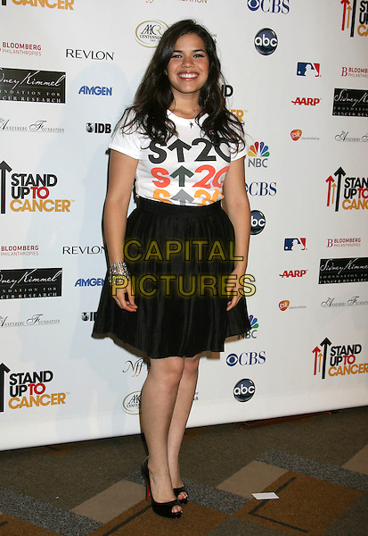 AMERICA FERRERA .Stand Up To Cancer Gala held at the Kodak Theatre, Hollywood, California, USA, 05 September 2008..full length white top t-shirt black skirt peep toe shoes patent .CAP/ADM/MJ.©Michael Jade/Admedia/Capital Pictures
