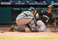 Hawaii Rainbow Warriors pinch runner Jonathan Weeks (8) slides into home as Baylor Bears catcher Matt Menard (23) blocks him during Houston College Classic on March 6, 2015 at Minute Maid Park in Houston, Texas. Hawaii defeated Baylor 2-1. (Andrew Woolley/Four Seam Images)