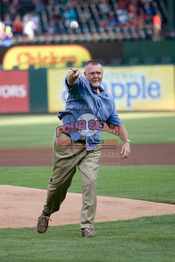 Minnesota Twins Hall of Fame pitcher Bert Blyleven throws out the ceremonial first pitch before the Major League Baseball game against the Texas Rangers at the Rangers Ballpark in Arlington, Texas on July 27, 2011. Blyleven, who also pitched for the Texas Rangers during his long career was enshrined in the National Baseball Hall of Fame last weekend. Minnesota defeated Texas 7-2.  (Andrew Woolley/Four Seam Images)