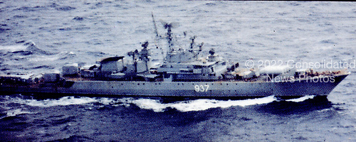 """United States Department of Defense released its 1985 assessment of Soviet Military Power at the Pentagon in Washington, DC on April 2, 1985.  The release stated """"The USSR's 24th naval deployment to the Caribbean included a KRIVAK-I -class guided missile frigate.""""<br /> Credit: Department of Defense via CNP"""
