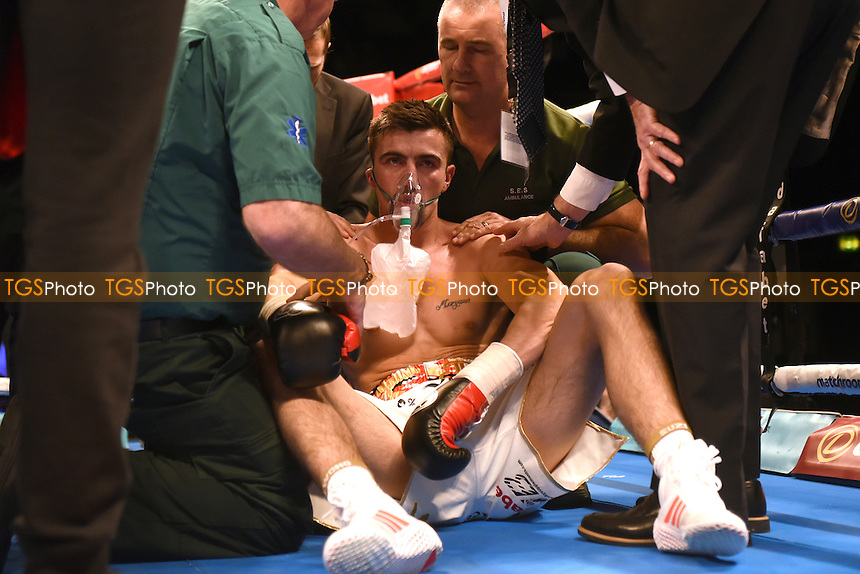 Jake Ball after being knocked out by JJ McDonagh during a Boxing Show at the SSE Arena, Wembley on 26th November 2016