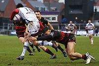 Jared Rosser of Dragons tackles Geoffrey Cros of Bordeaux Begles during the European Challenge Cup match between Dragons and Bordeaux Begles at Rodney Parade, Newport, Wales, UK. 20 January 2018