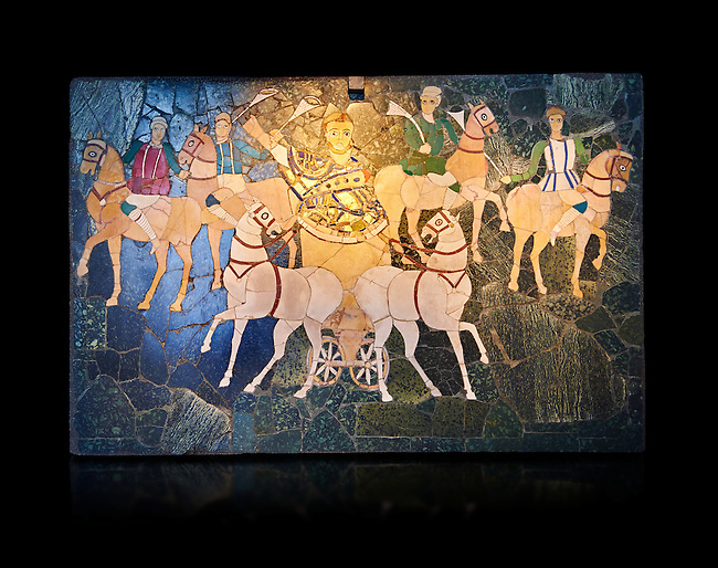 4th Century AD Roman Opus Sectile Mosaic of a chariot & 4 horses from the basilica de Giunio Basso.  Museo Nazionale Romano ( National Roman Museum), Rome, Italy. Against a black background.