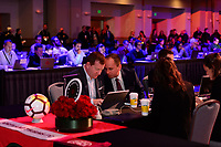Philadelphia, PA - Thursday January 18, 2018: Gavin Wilkinson, Mark Parsons during the 2018 NWSL College Draft at the Pennsylvania Convention Center.