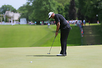 Shane Lowry putts on the 1st green during the BMW PGA Golf Championship at Wentworth Golf Course, Wentworth Drive, Virginia Water, England on 28 May 2017. Photo by Steve McCarthy/PRiME Media Images.