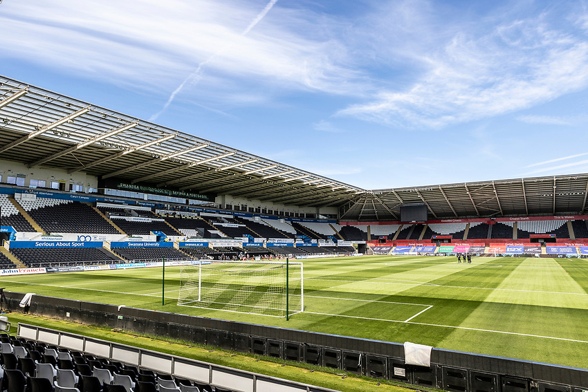 A general view of the Liberty Stadium  <br /> <br /> Photographer Andrew Kearns/CameraSport<br /> <br /> The EFL Sky Bet Championship - Swansea City v Leeds United - Sunday 12th July 2020 - Liberty Stadium - Swansea<br /> <br /> World Copyright © 2020 CameraSport. All rights reserved. 43 Linden Ave. Countesthorpe. Leicester. England. LE8 5PG - Tel: +44 (0) 116 277 4147 - admin@camerasport.com - www.camerasport.com